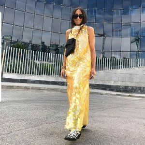NWT Zara XS Yellow Sequinned Long Cocktail Dress